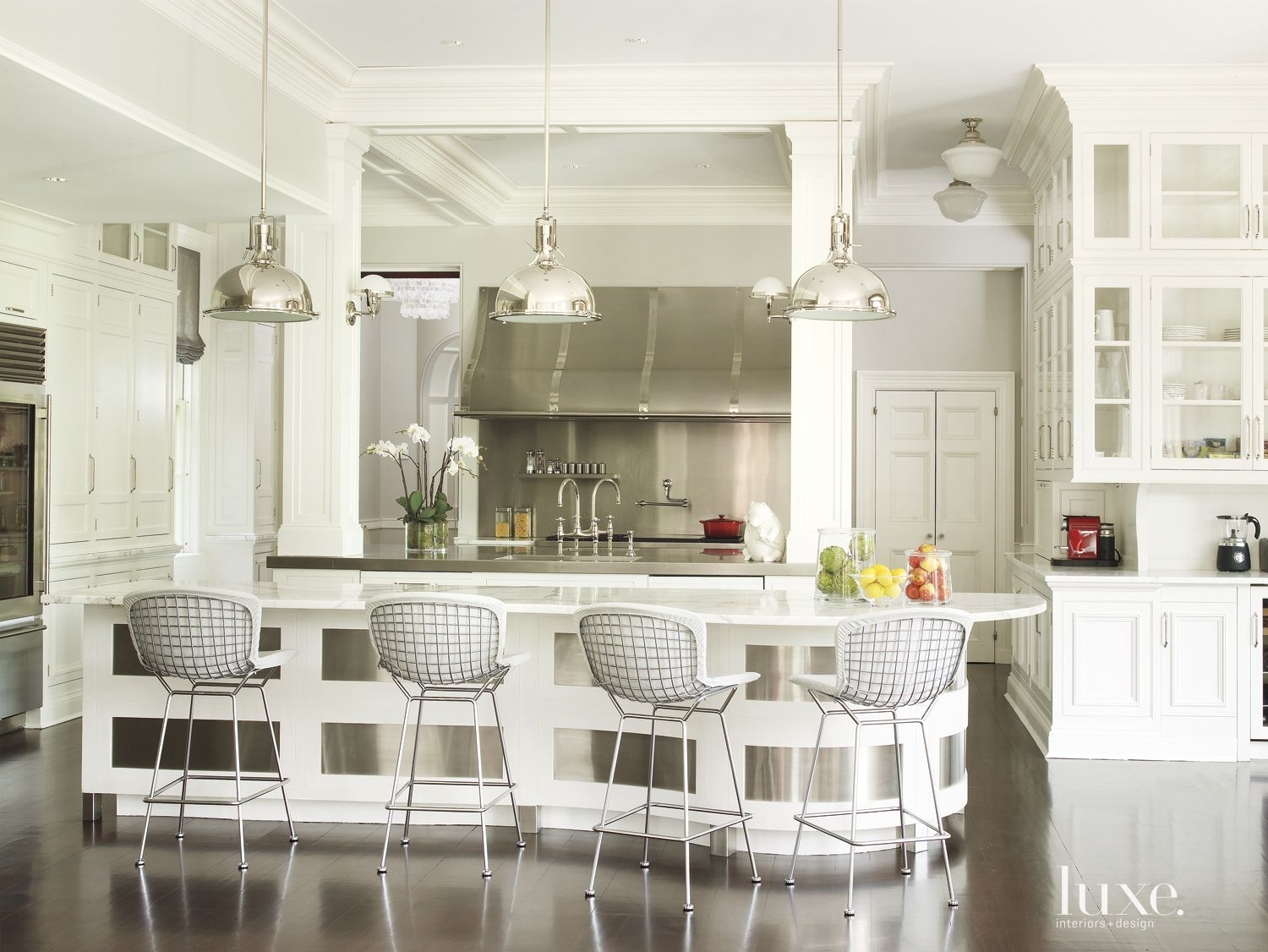 Contemporary White Kitchen with Retro Light Fixtures