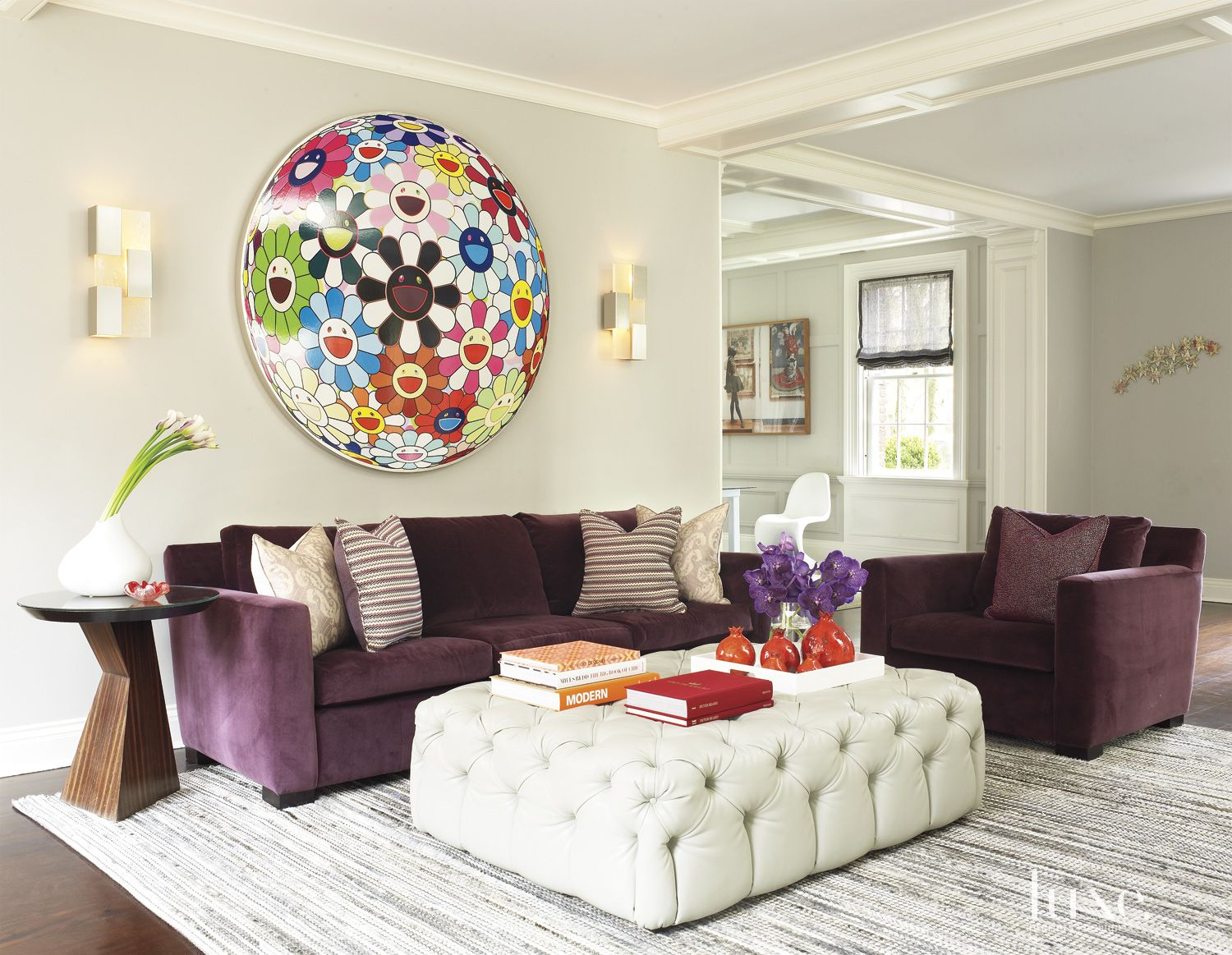 Eclectic White Living Room with Murakami Art