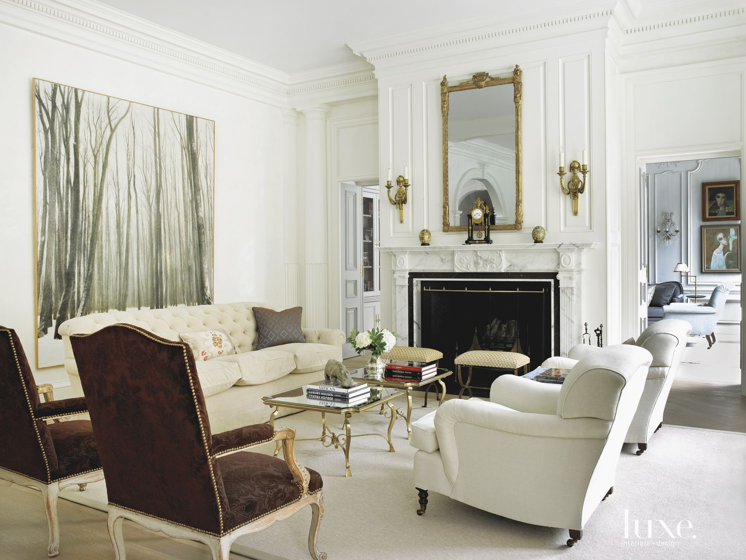 White Living Room with Brass Accents