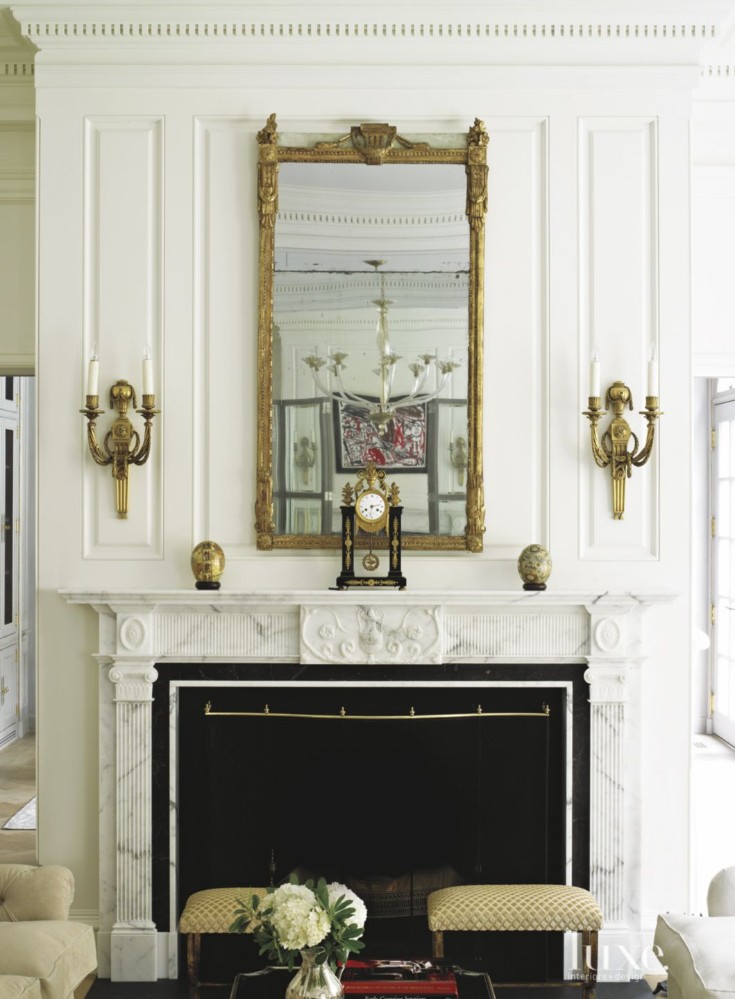Traditional White Living Room Fireplace Mantel