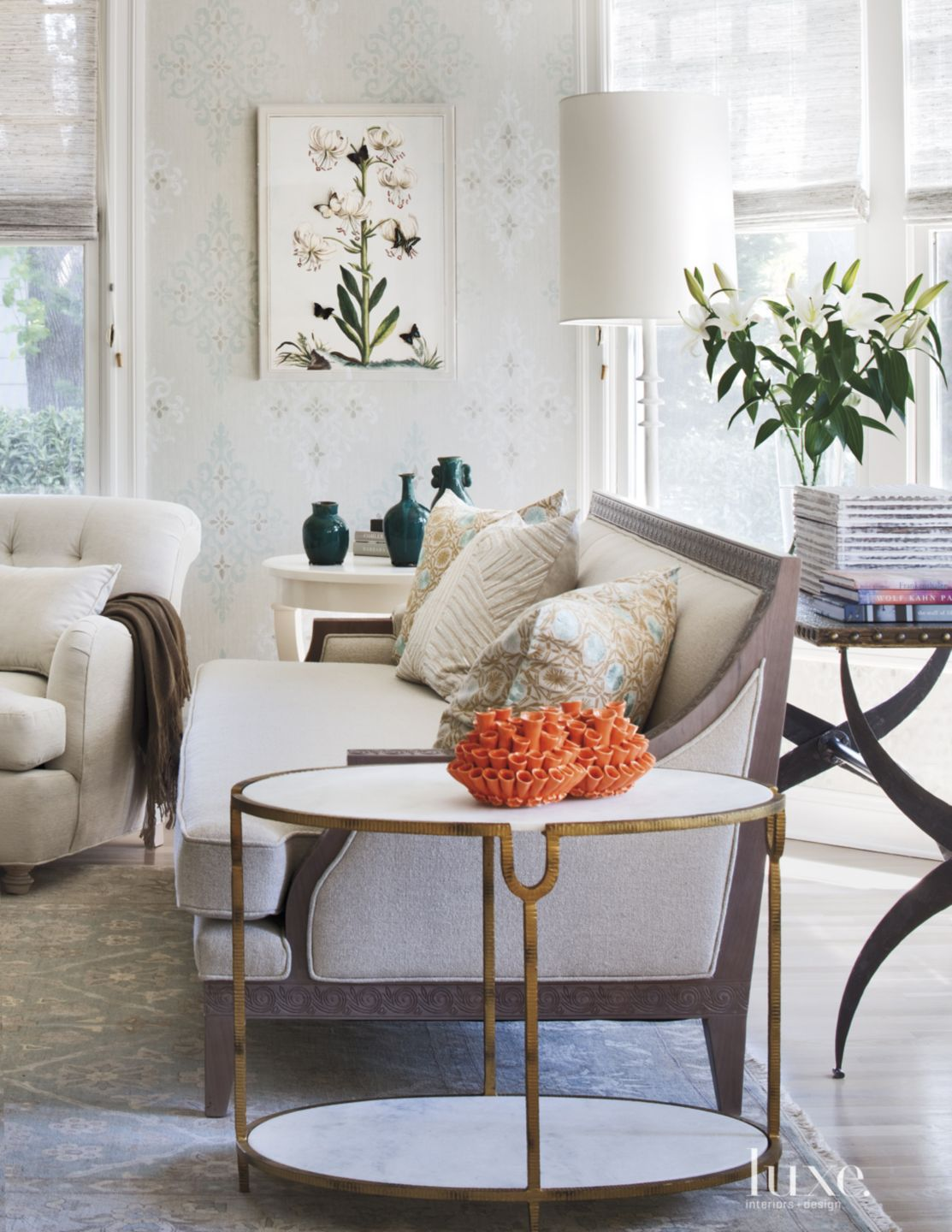 Contemporary Pale Green Living Room