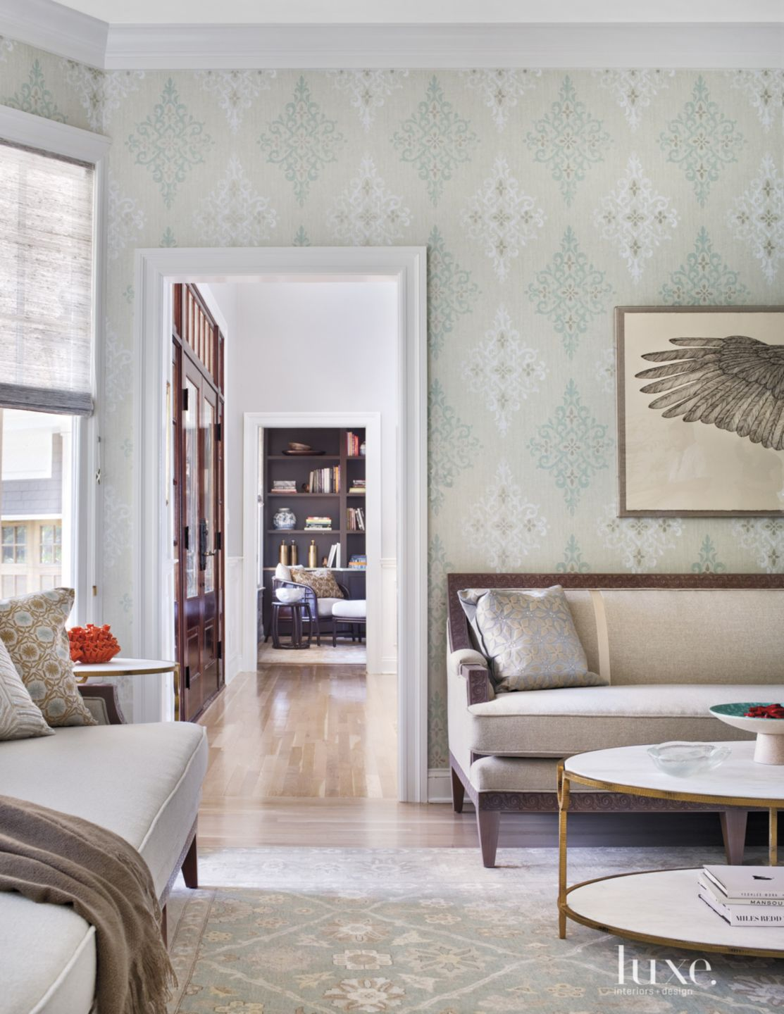 Contemporary Pale Green Living Room Entry