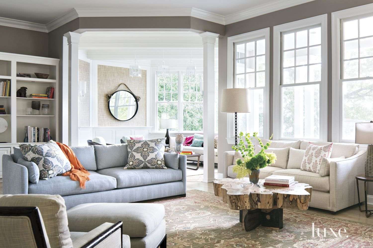 Contemporary Gray Family Room