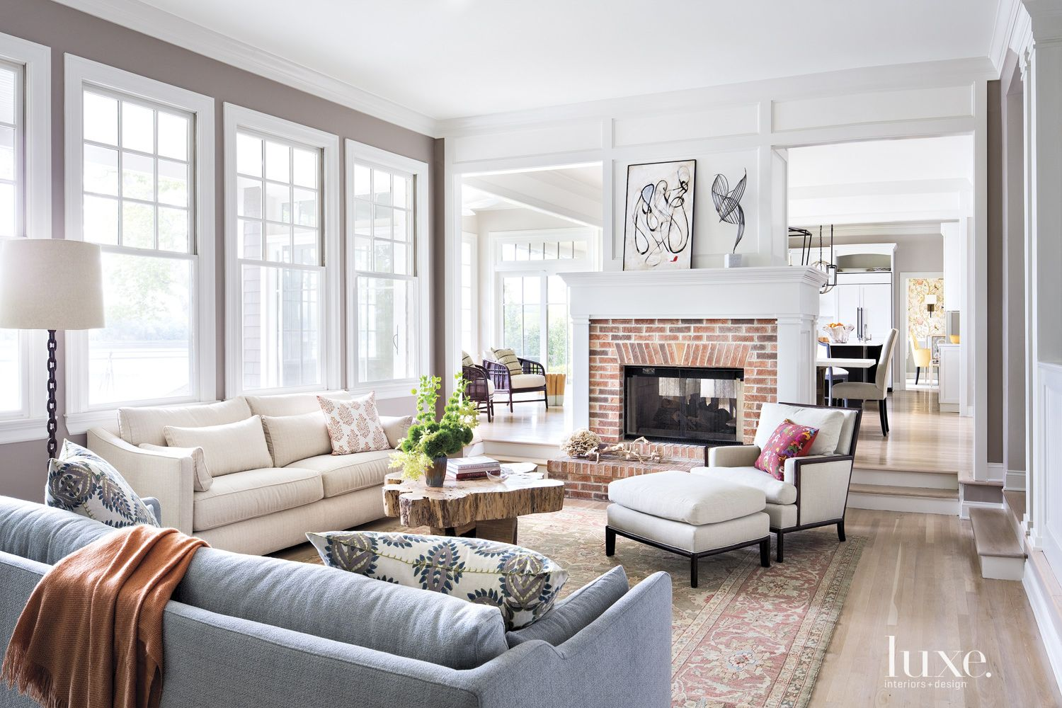 Contemporary Gray Family Room Fireplace