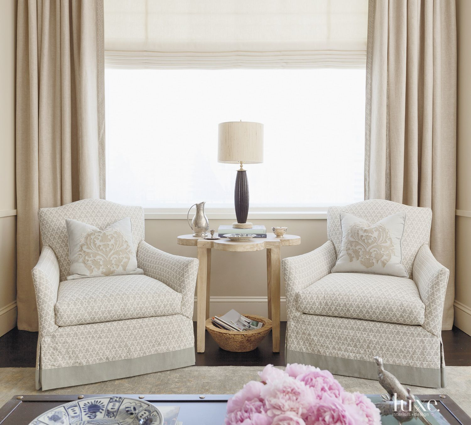 Eclectic Neutral Seating Area with Damask Pillows
