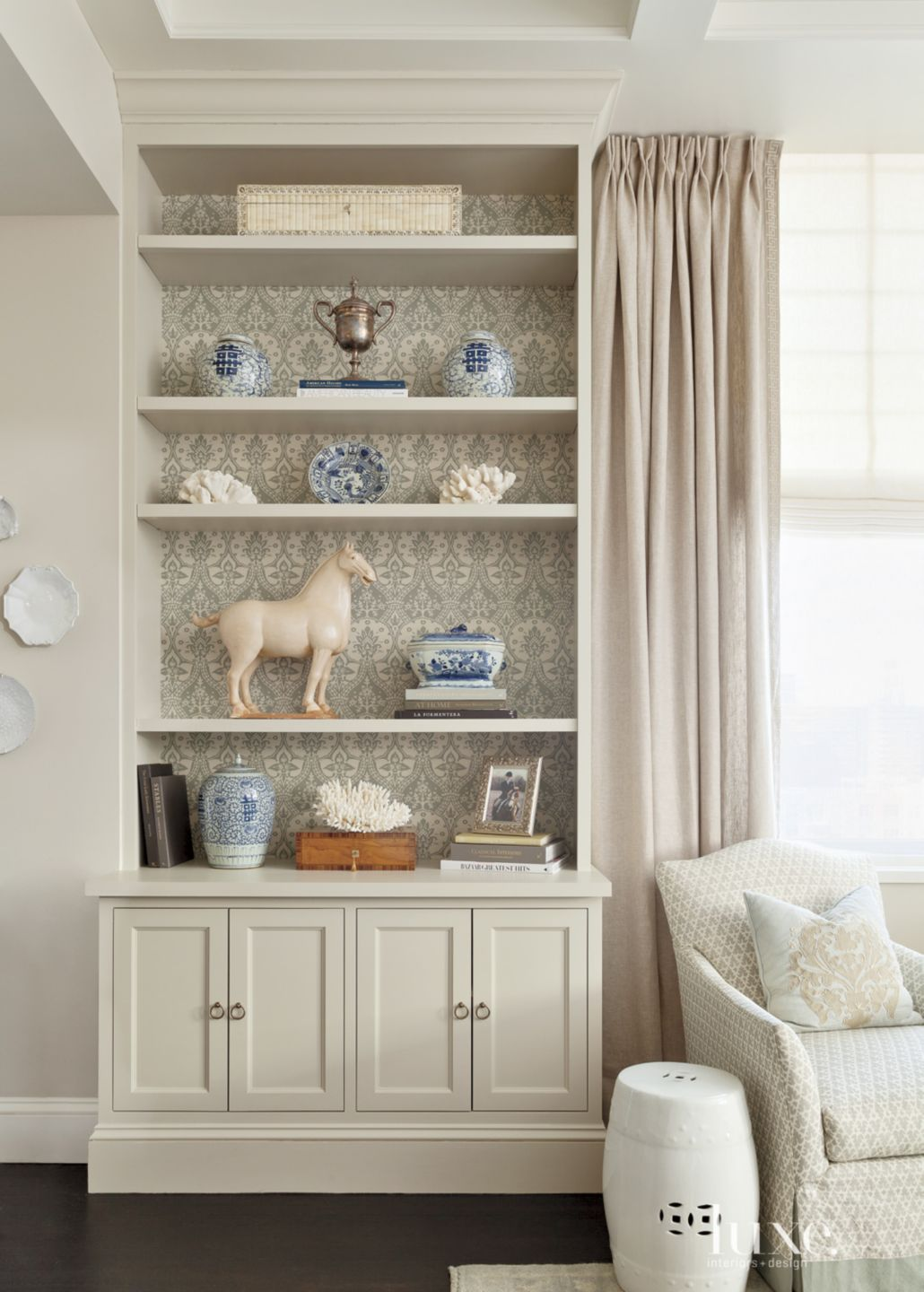 Eclectic Neutral Living Room Vignette with Damask Wallpaper