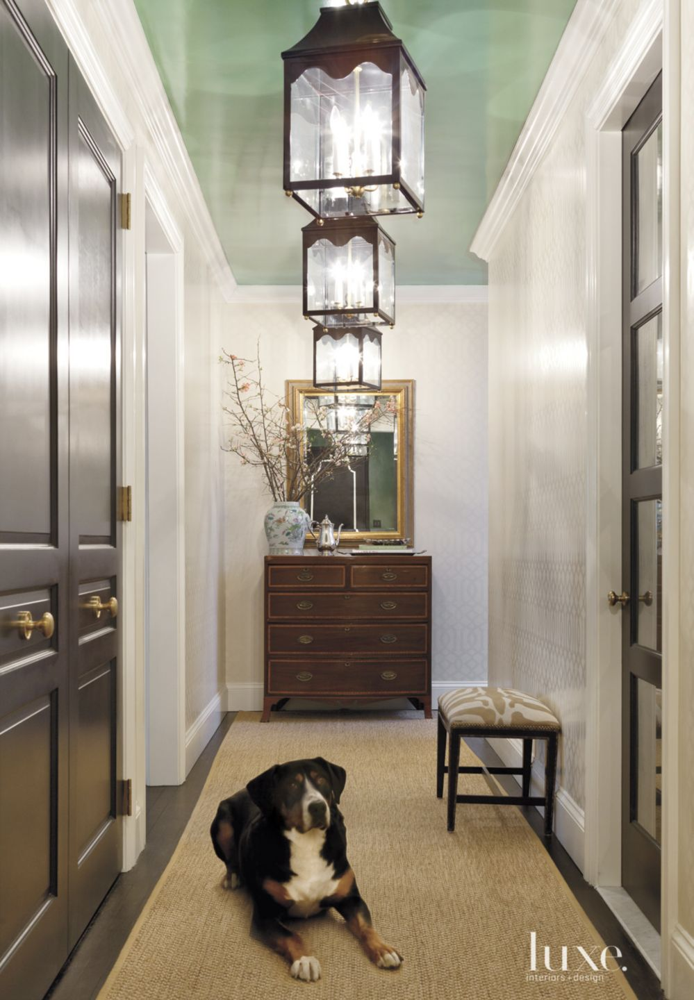 Eclectic Neutral Foyer with Green Ceiling