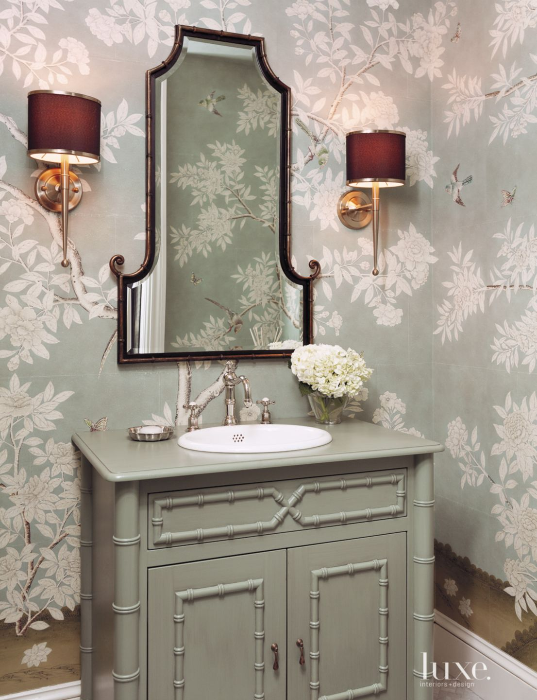 Eclectic Green Bathroom with Floral Wallpaper