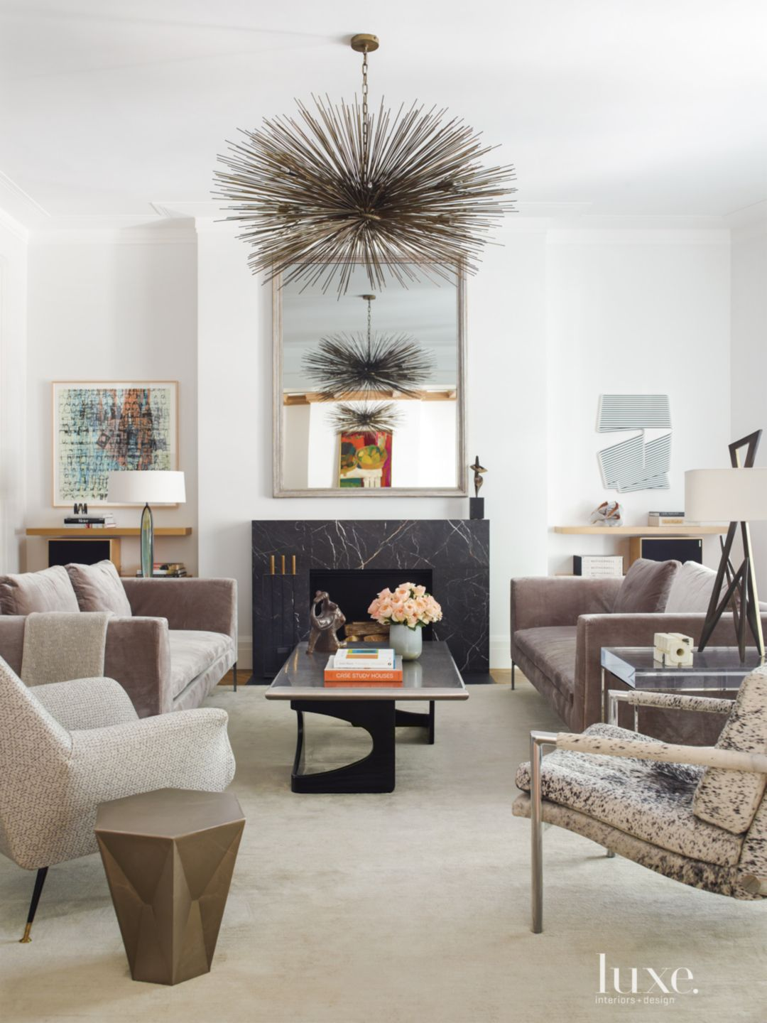 Modern Neutral Family Room with Hide-Covered Armchair