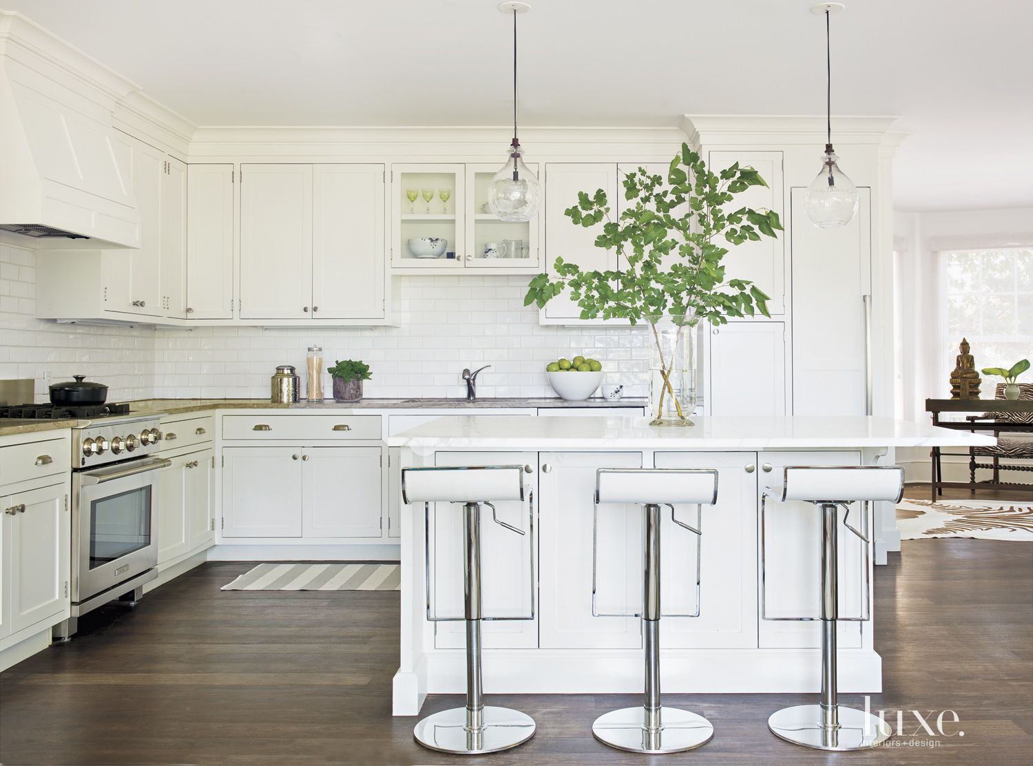 Contemporary White Kitchen with Nuevo Stools