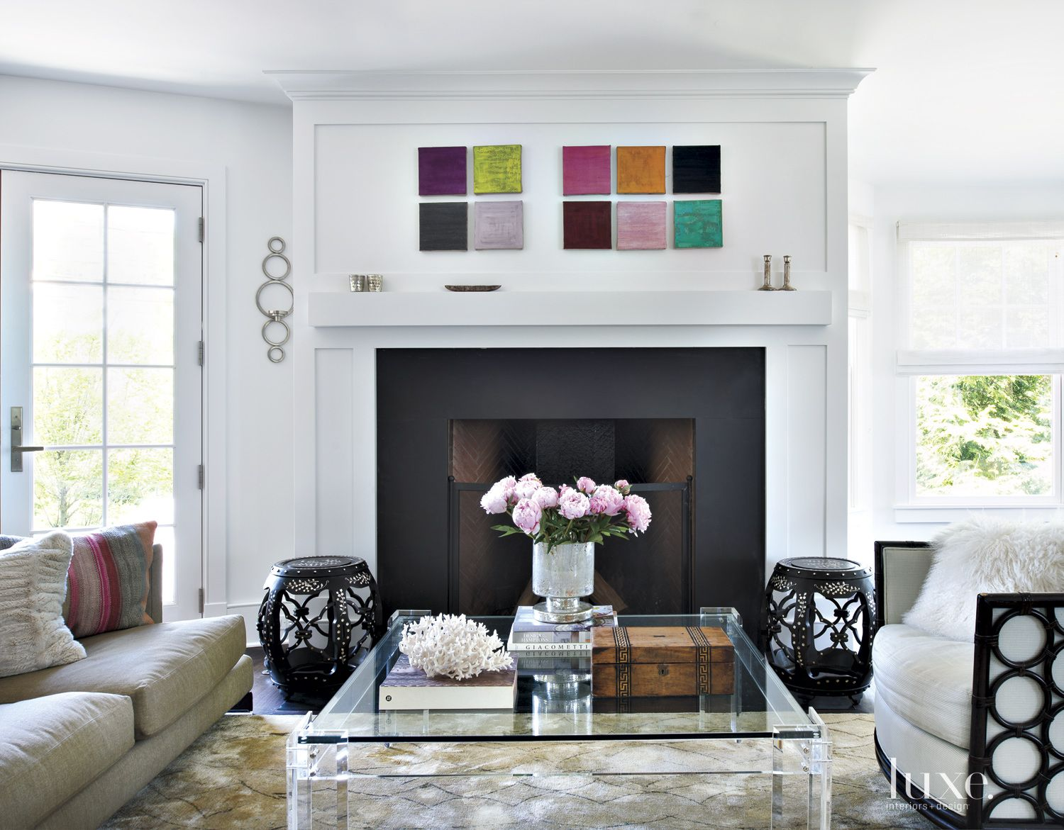 Contemporary White Living Room with Homeowner's Artwork