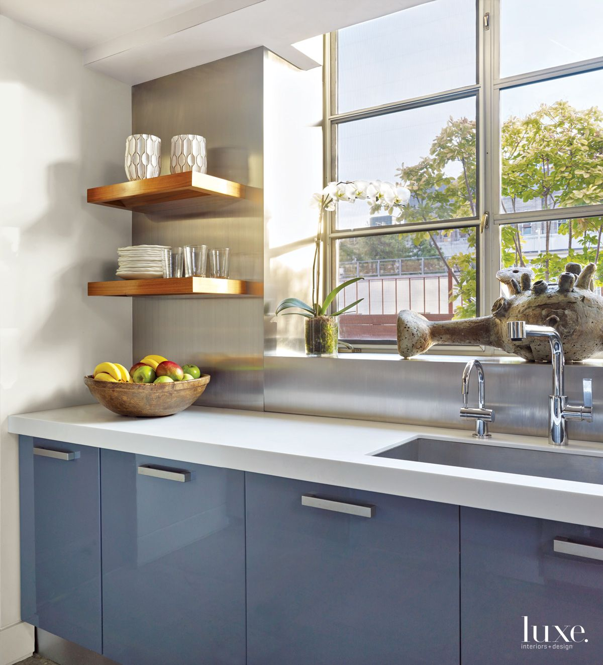 Transitional Neutral Kitchen Blue-Lacquered Cabinetry