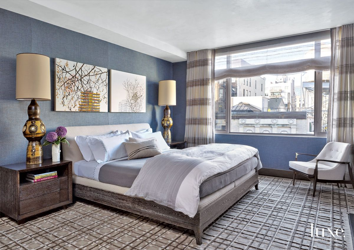 Transitional Blue Bedroom with French Ceramic Lamps