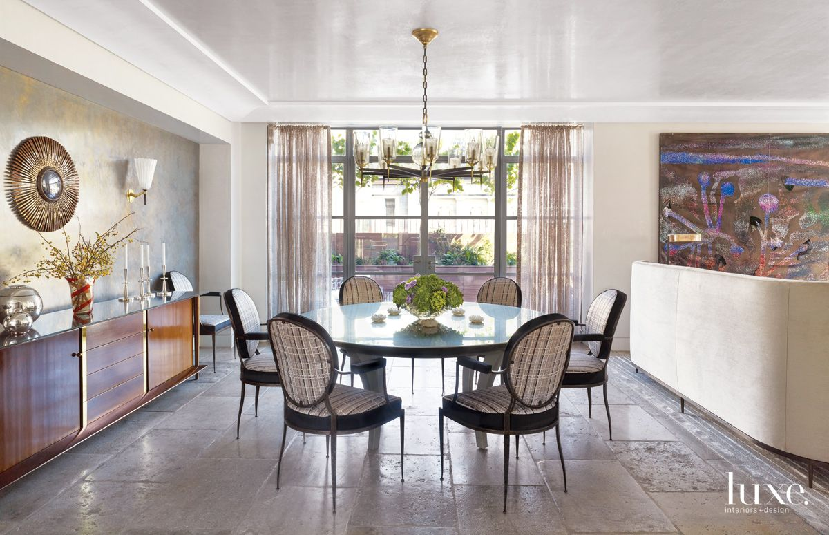 Transitional Neutral Dining Room with Gilded-Iron Dining Chairs