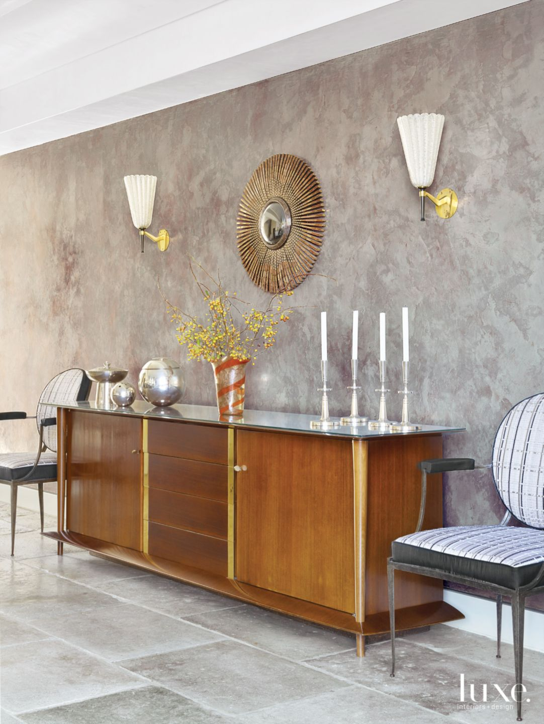 Transitional Neutral Dining Room with French Buffet