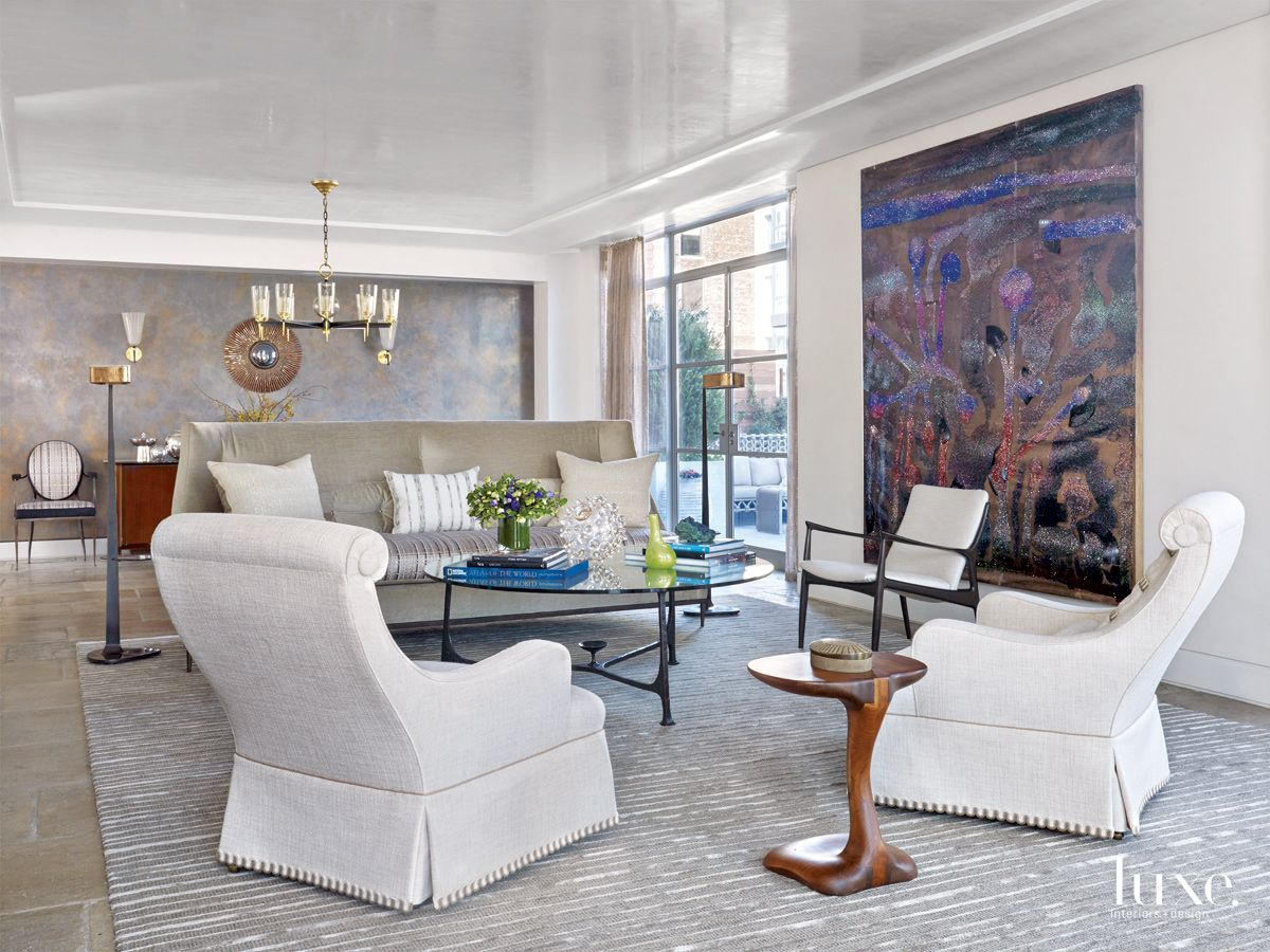 Transitional White Living Room with Terrace Access