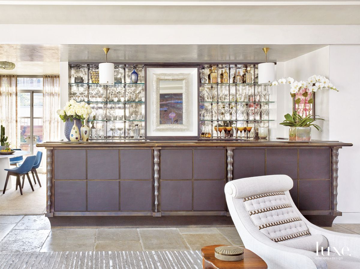Transitional White Living Room with Bronze Bar