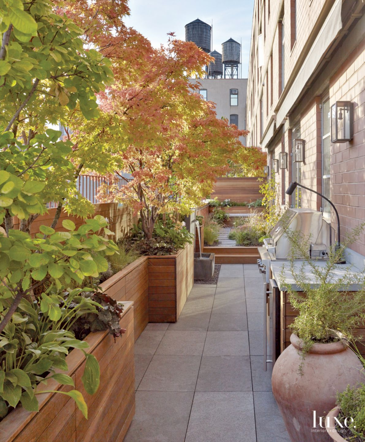 Transitional Neutral Terrace with Wood Planter Boxes