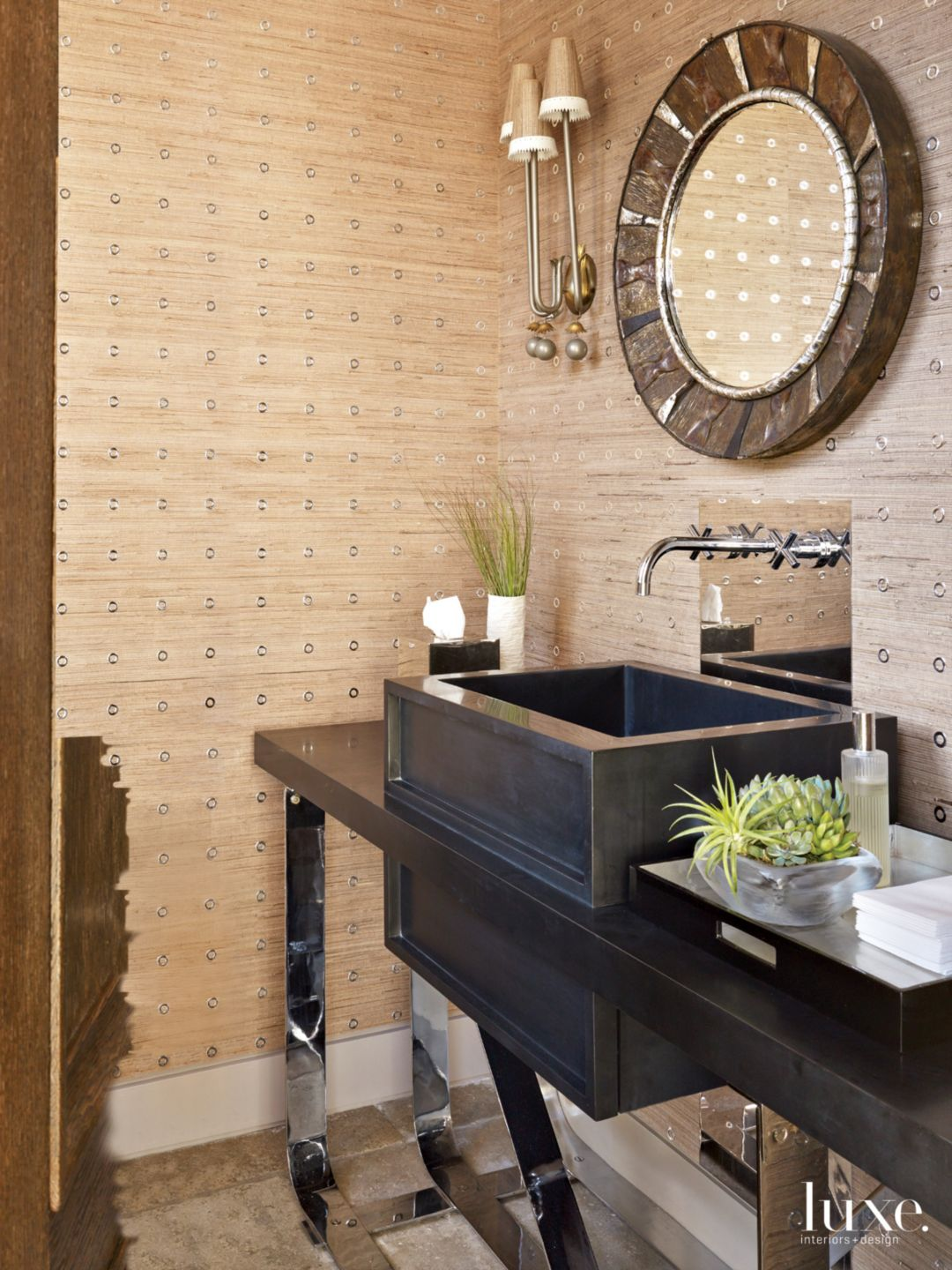 Transitional Neutral Powder Room with Black Vanity
