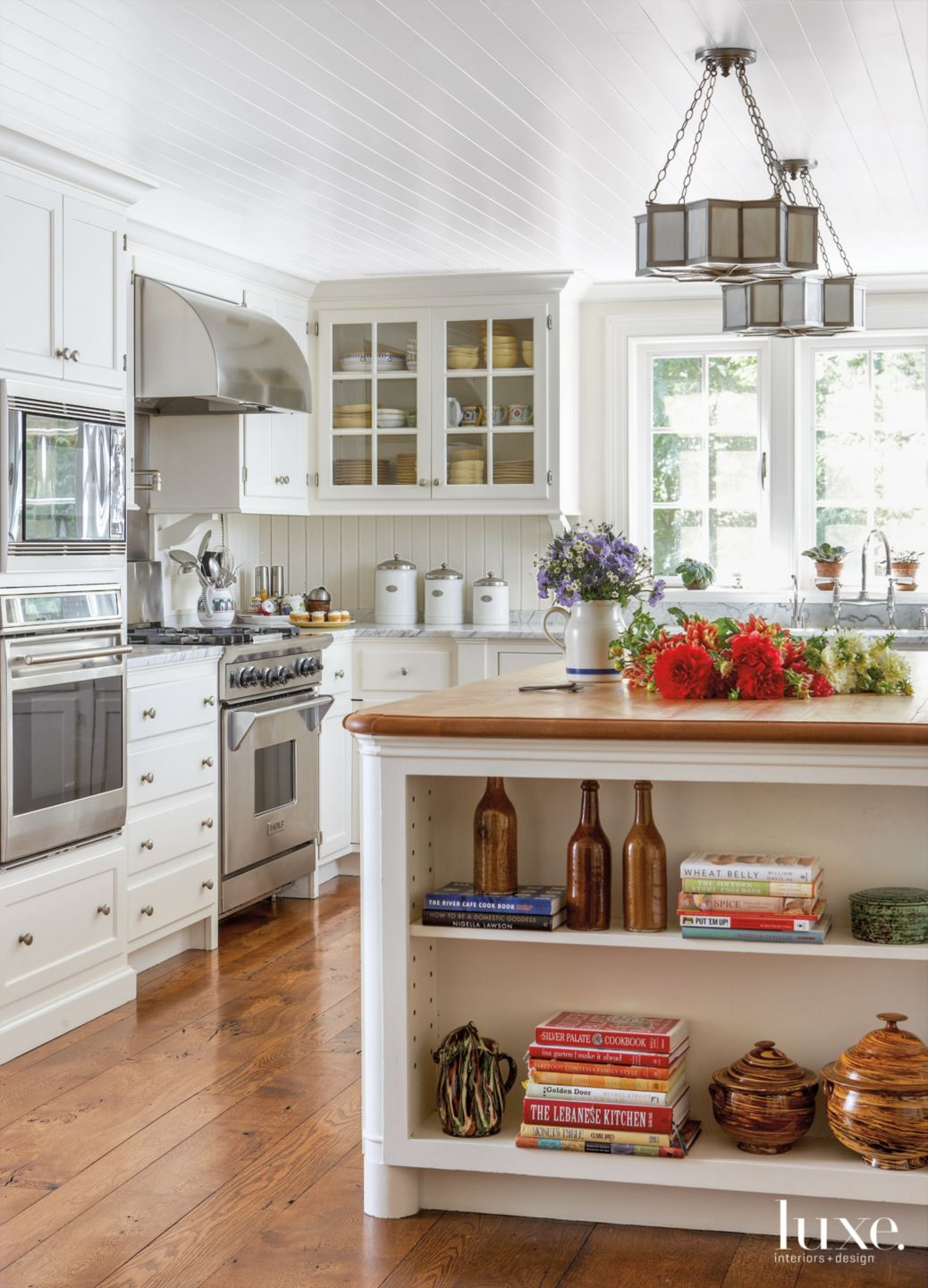 Traditional White Kitchen with Oak Flooring