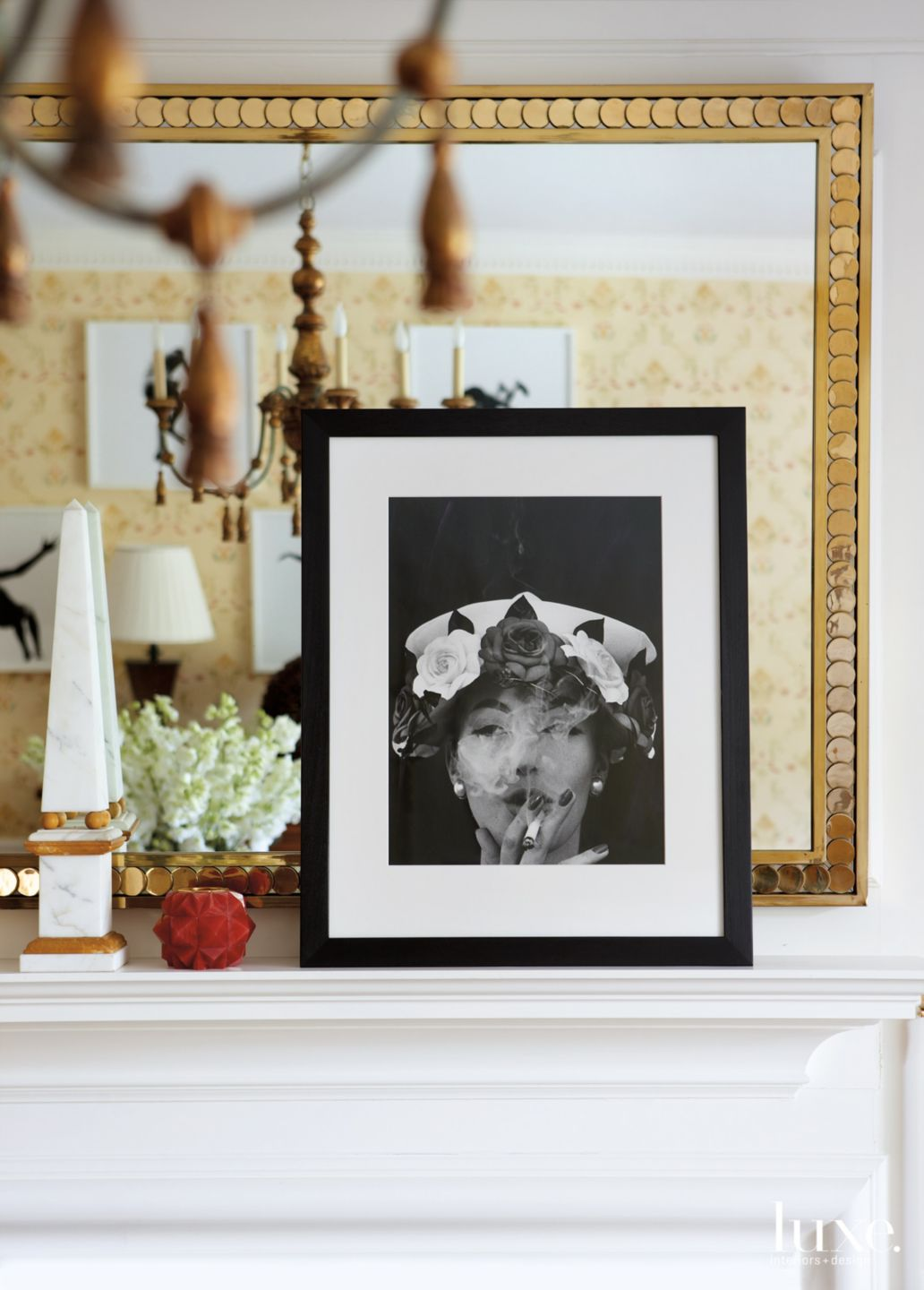 Traditional White Mantel with Framed Photo