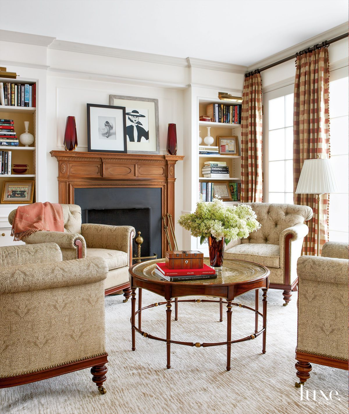 Traditional White Parlor with Antique Coffee Table