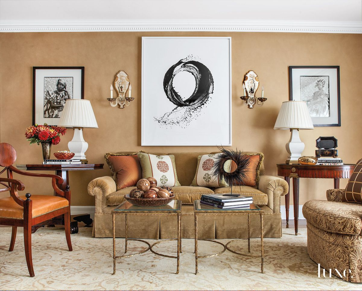 Traditional Beige Living Room with Gilded-Bronze Coffee Tables