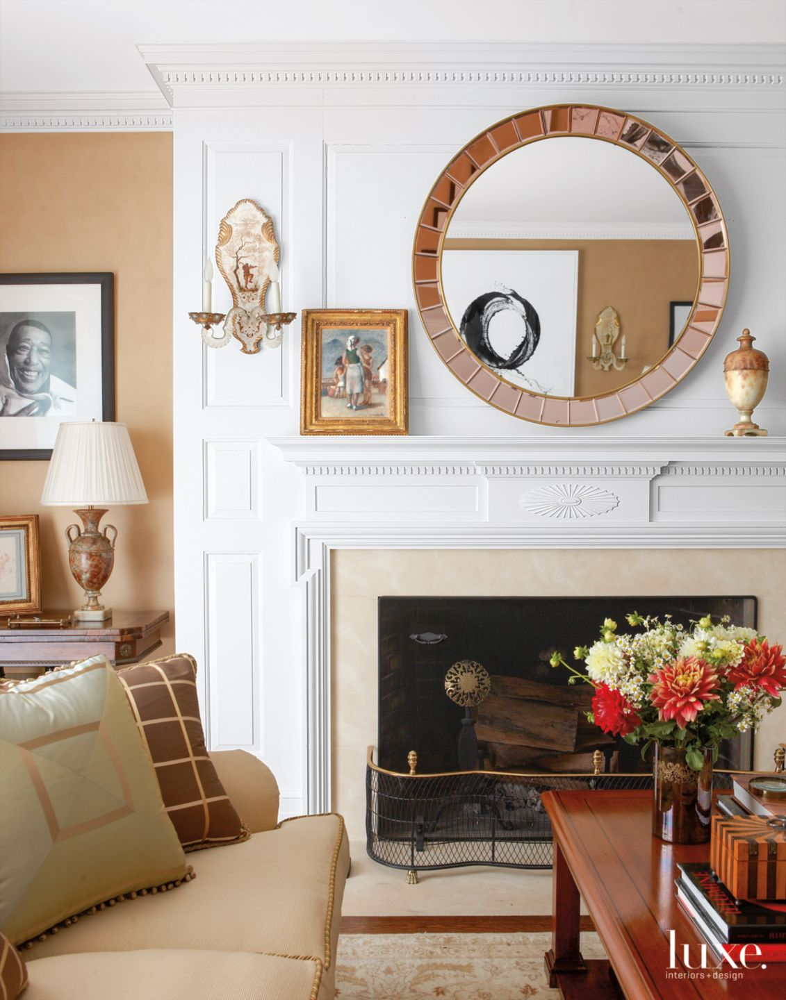 Traditional White Living Room with Custom Fireplace Suround
