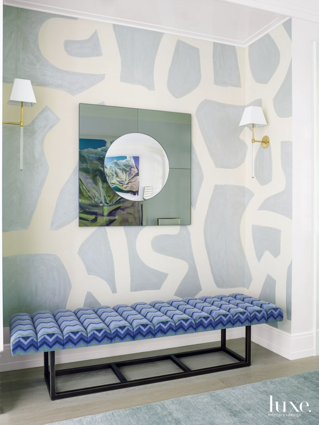 Modern Blue Foyer Niche with Hand-Painted Wallcovering