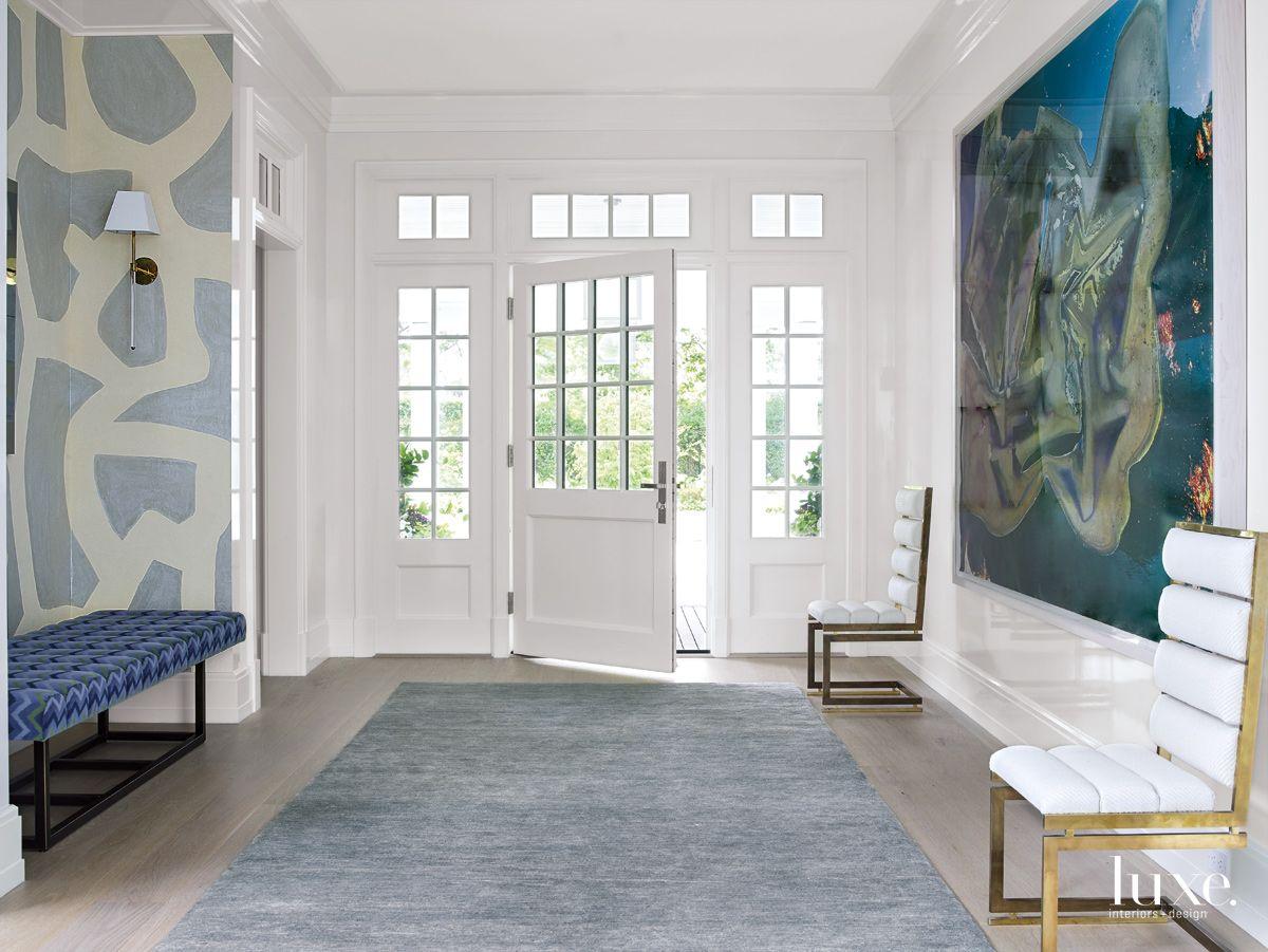 Modern White Entry with Cerused White Oak Flooring