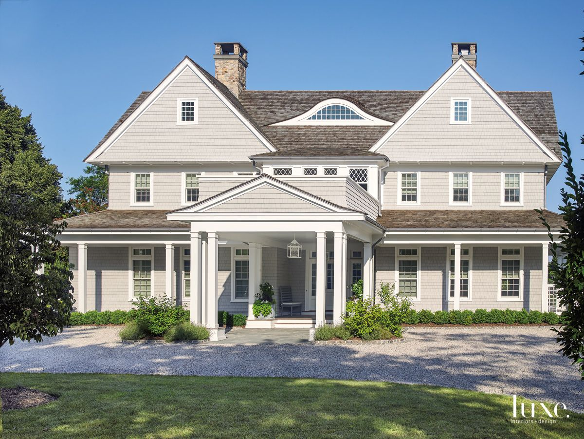 Traditional Gray Front Elevation with Porte Cochere