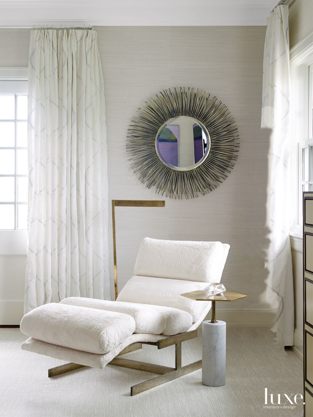 Modern Cream Bedroom Seating Area with Vintage Chaise