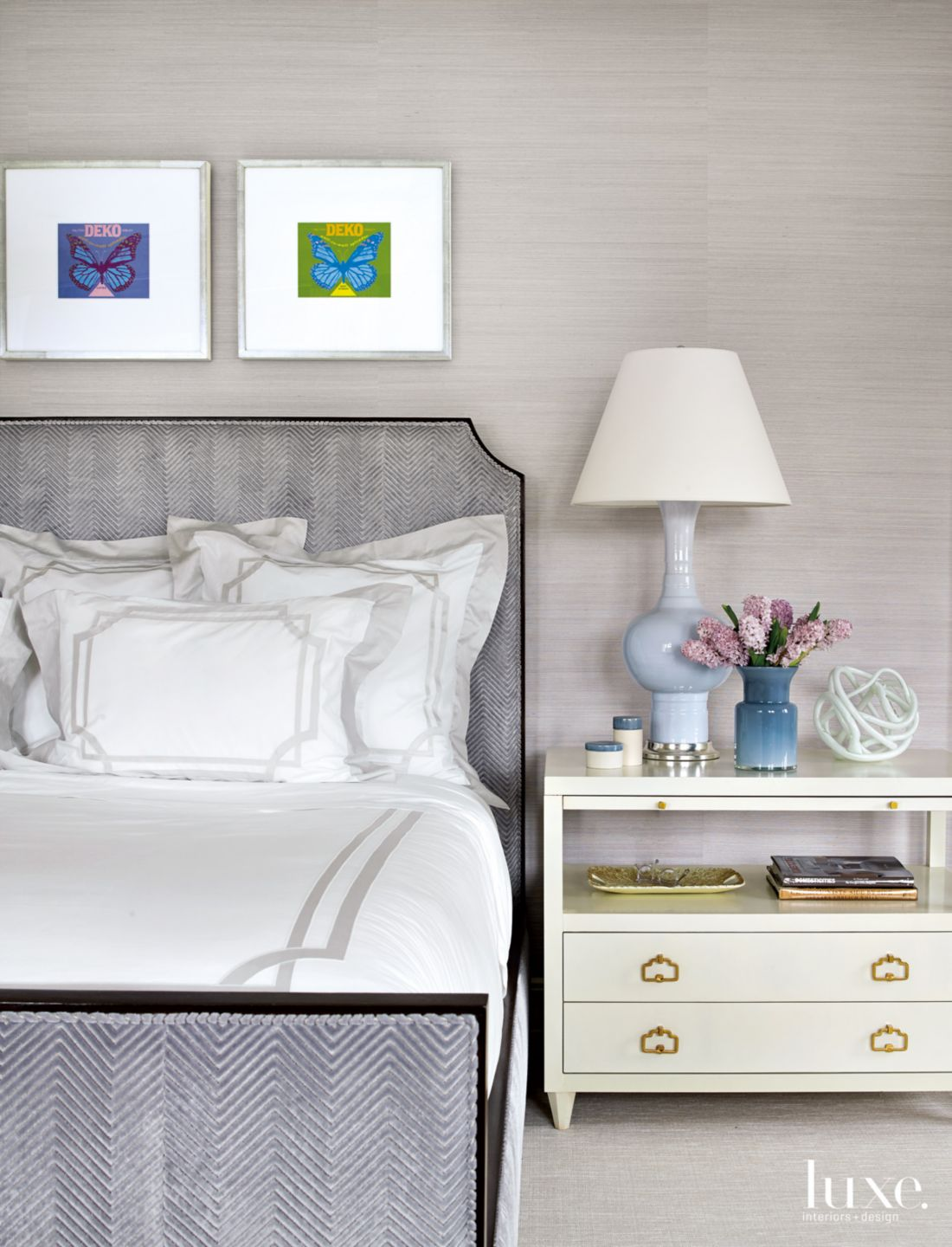 Modern Purple Bedroom with Framed Label Art