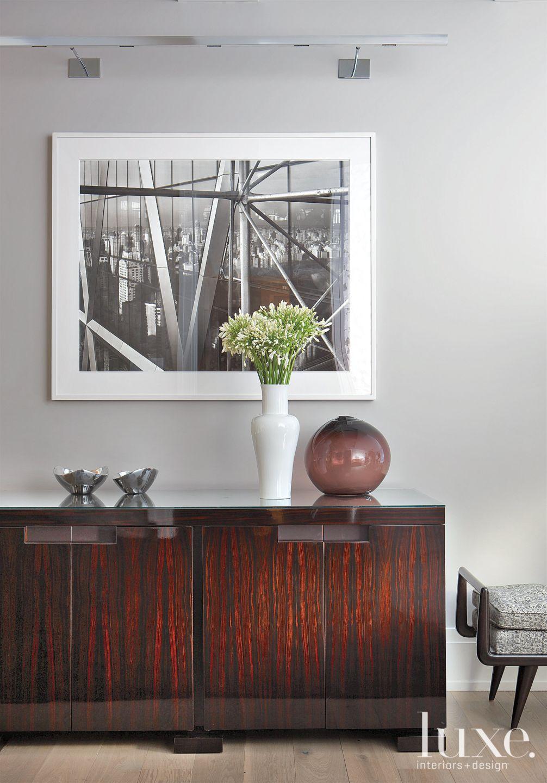 Modern Gray Foyer Cherrywood Cabinet