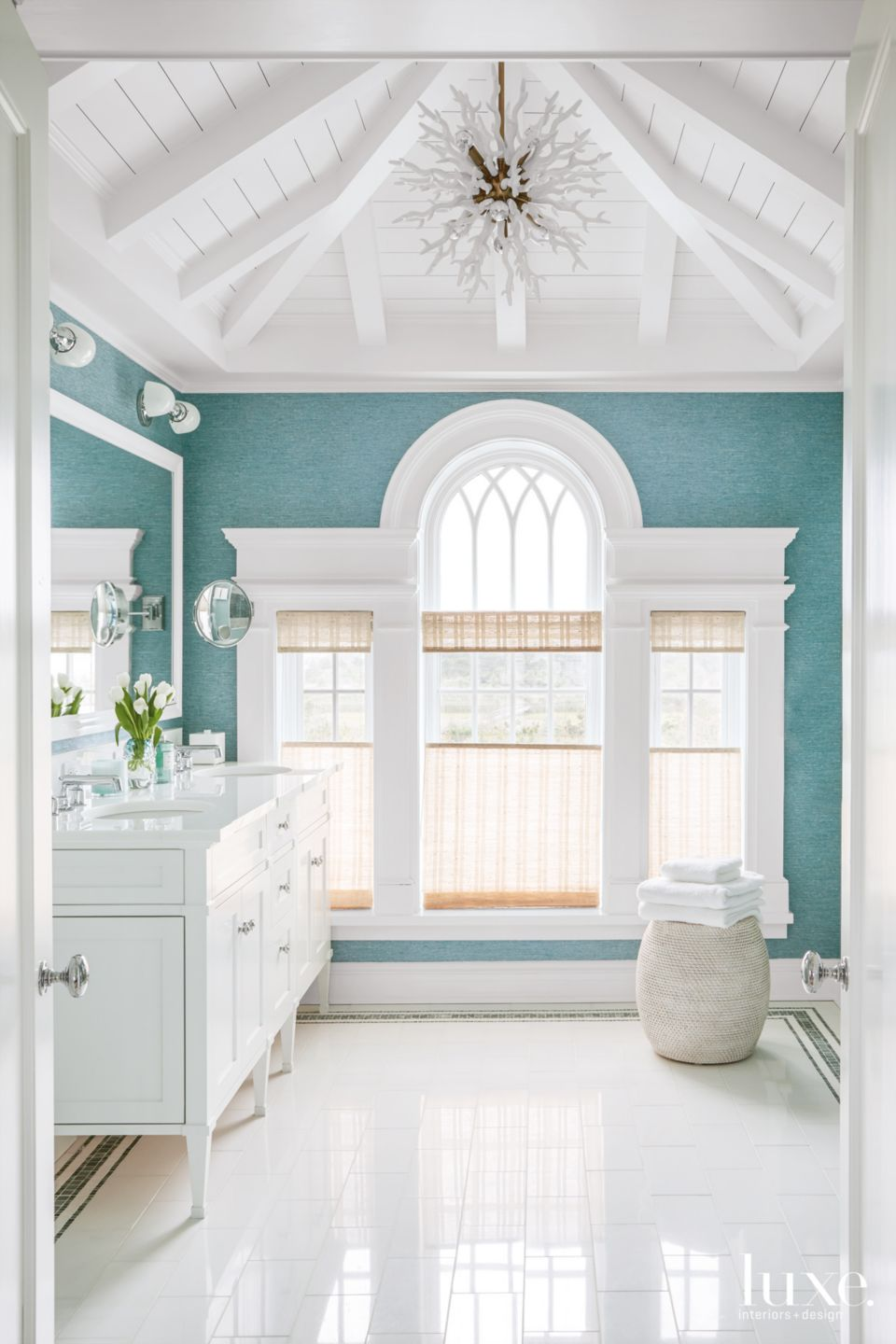Contemporary Turquoise Bathroom with Coral-Like Chandelier