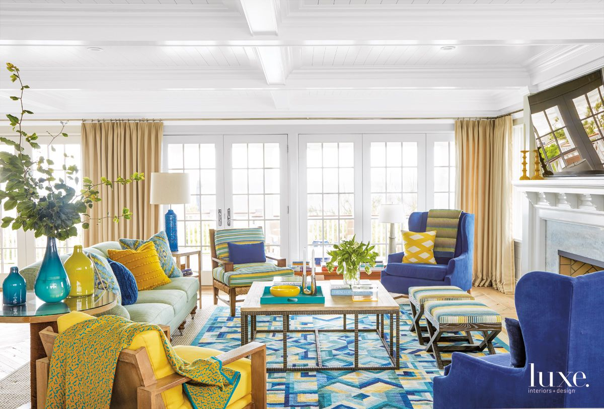Contemporary Blue Living Room with Yellow and Blue Furnishings