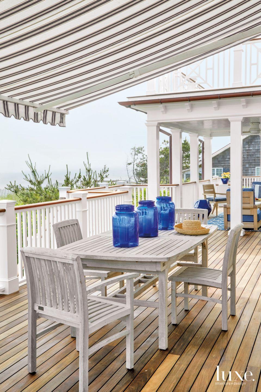 Contemporary White Porch with Cobalt Glass Jars