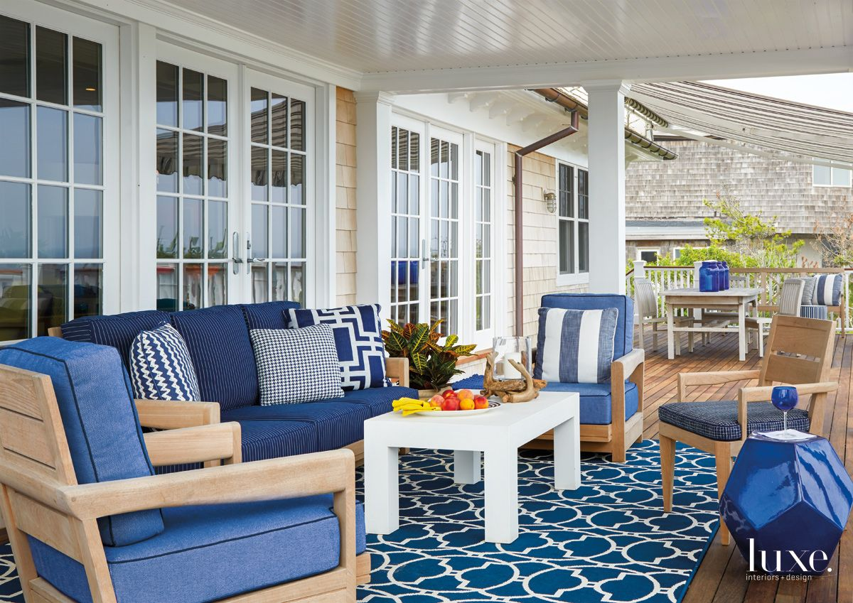 Contemporary Blue Outdoor Living Room with Nautical Patterns