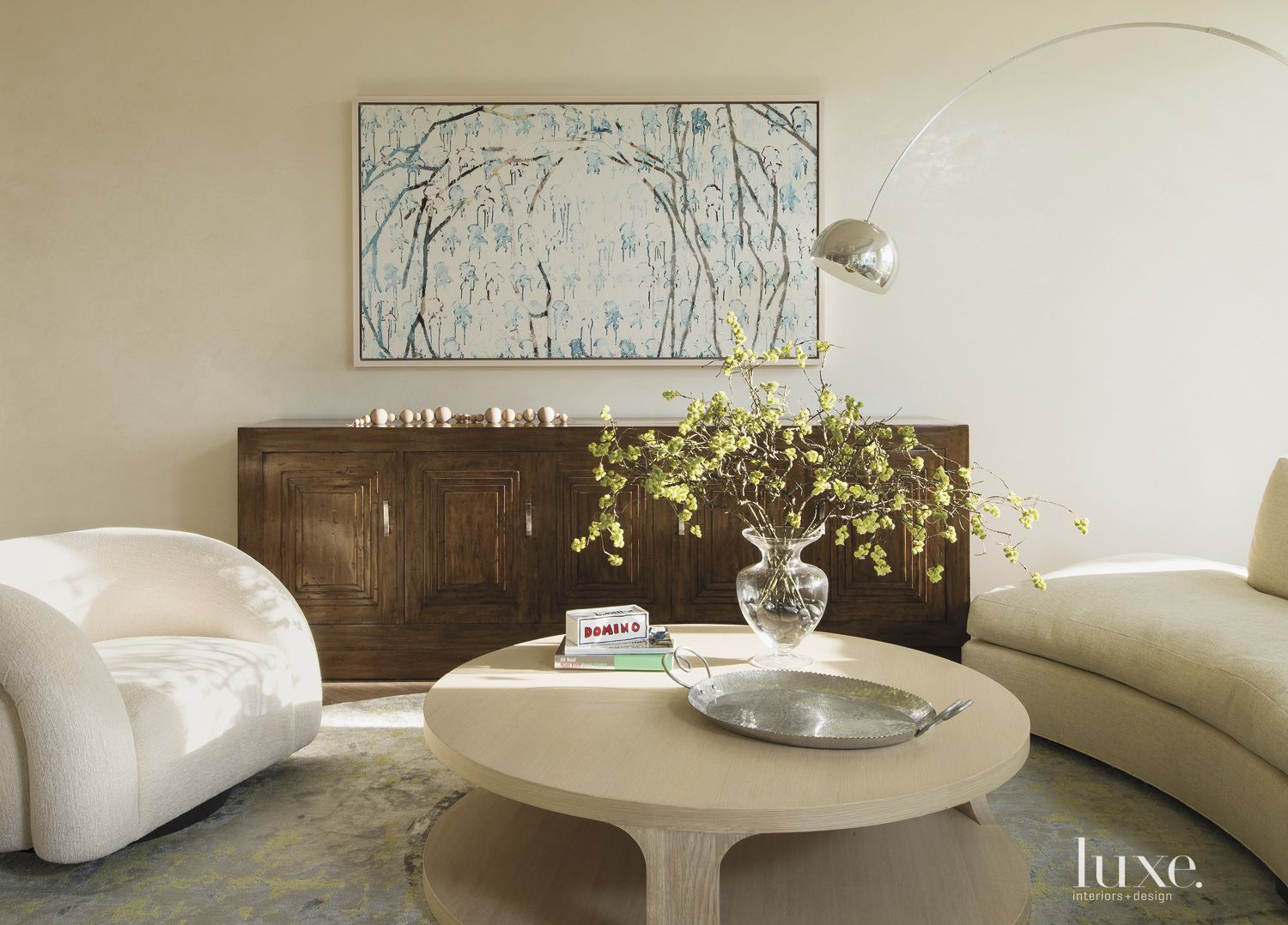 Eclectic Cream Living Room with Circular Coffee Table