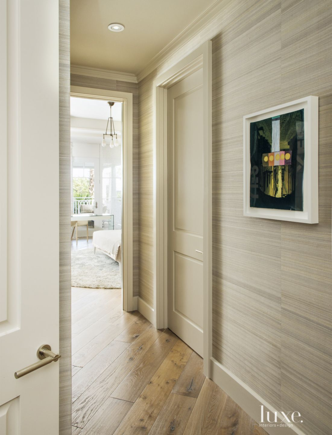 Contemporary Neutral Hallway with Wallcovering