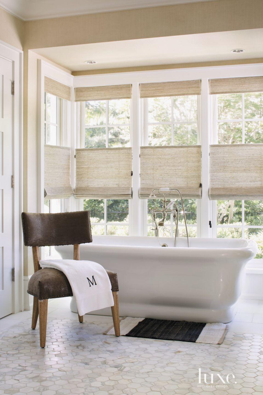 Contemporary Cream Master Bath Freestanding Tub