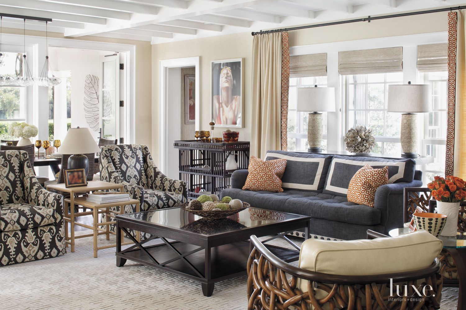 Contemporary Cream Living Room with Rattan Accents