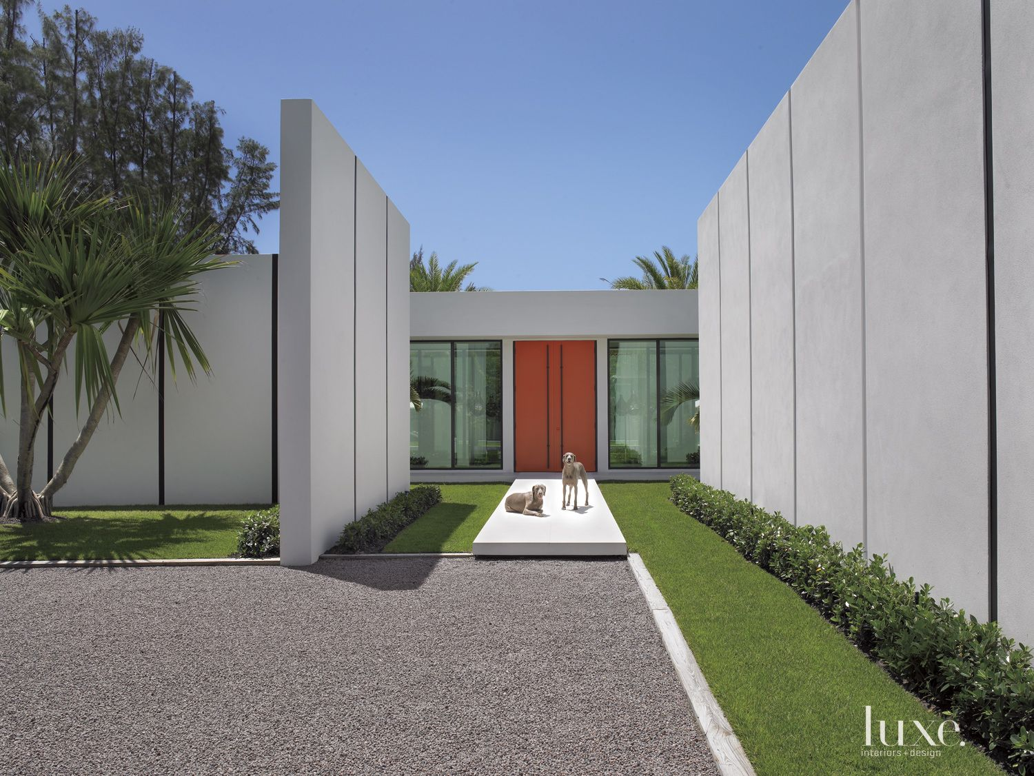 Modern Gray Front Elevation with Perimeter Walls