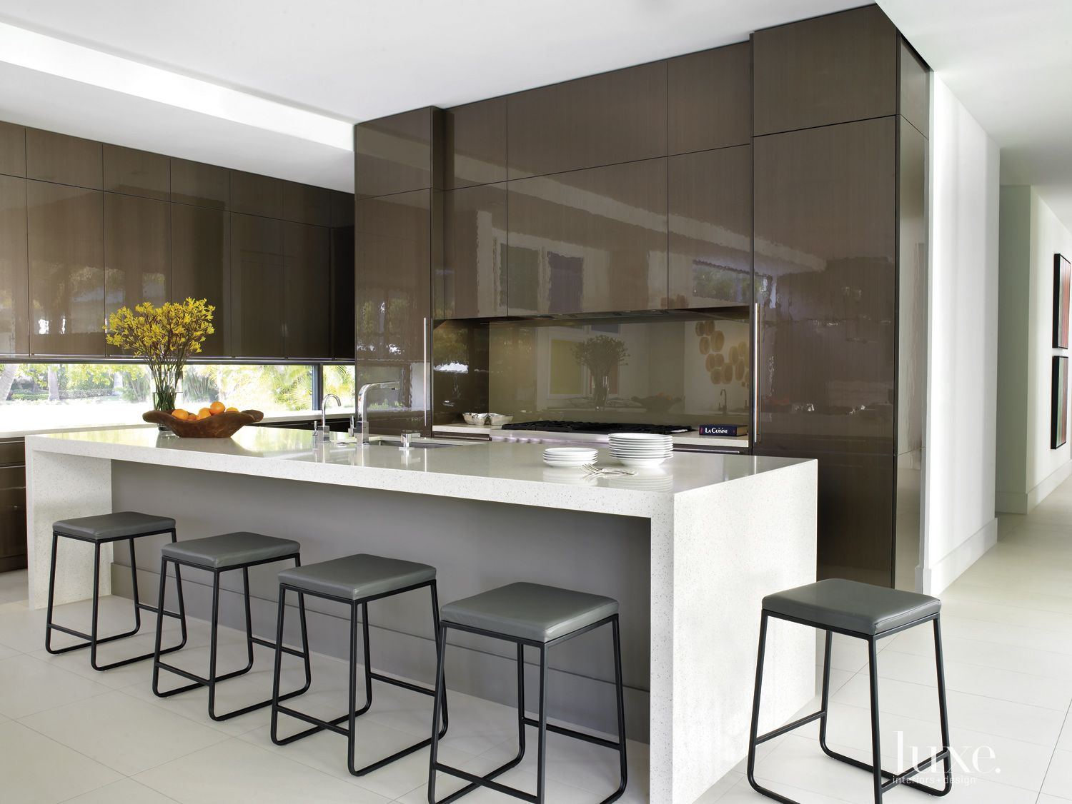 Modern Neutral Kitchen with High Gloss Cabinetry