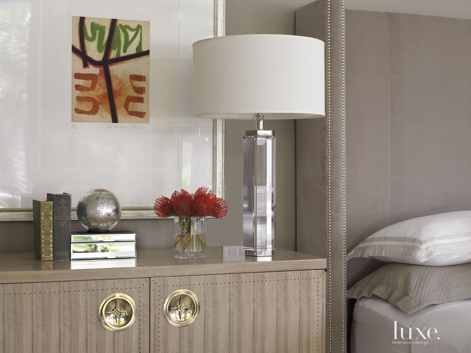 Contemporary Gray Bedroom Detail with Crystal Lamp