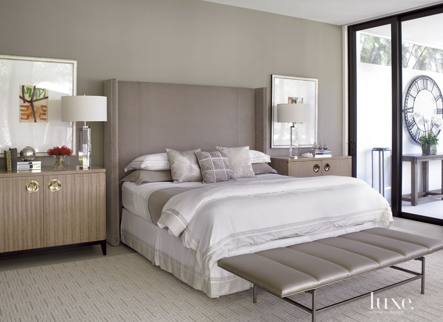 Contemporary Gray Bedroom with Upholstered Headboard