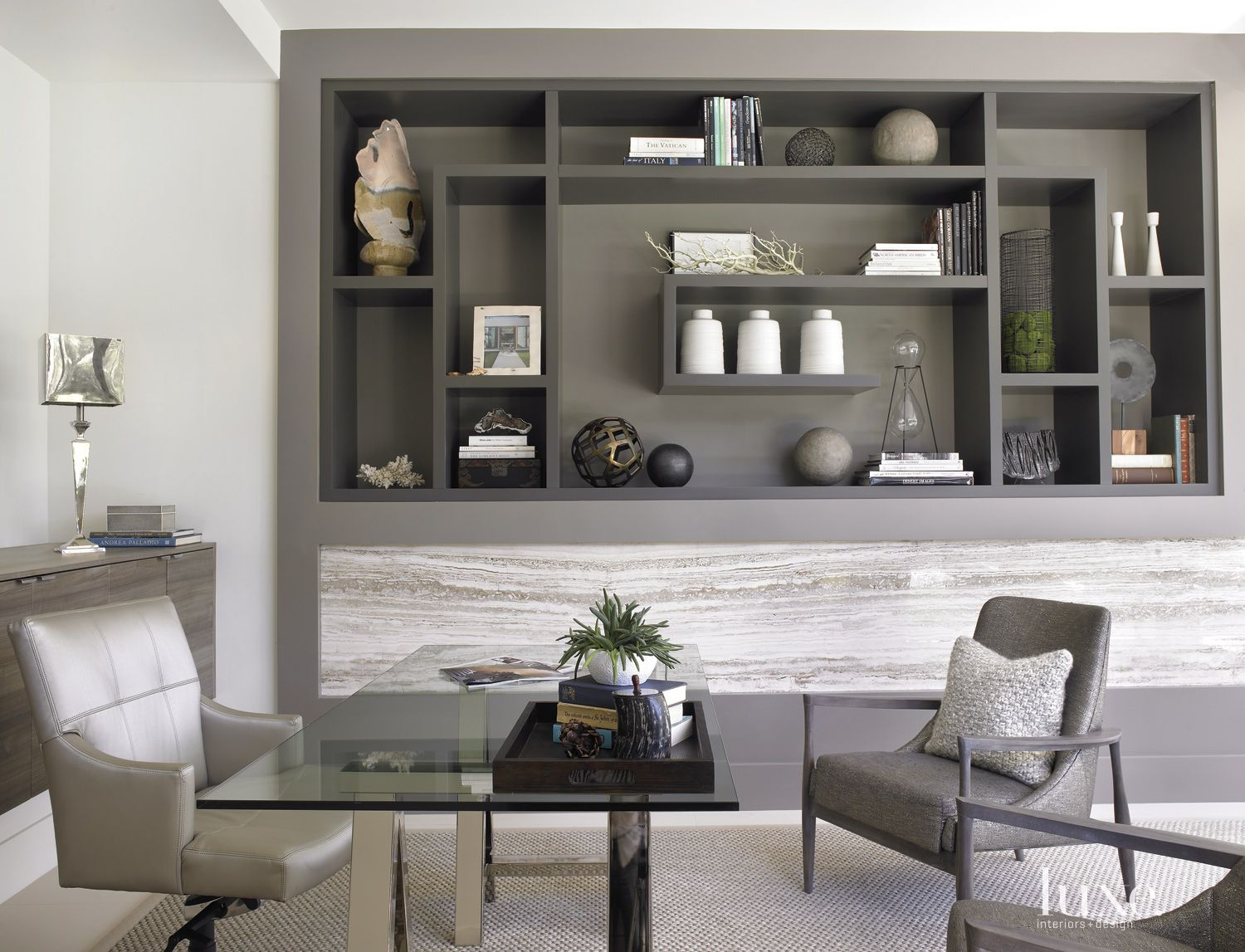 Modern Gray Office with Metal-and-Glass Trestle Table