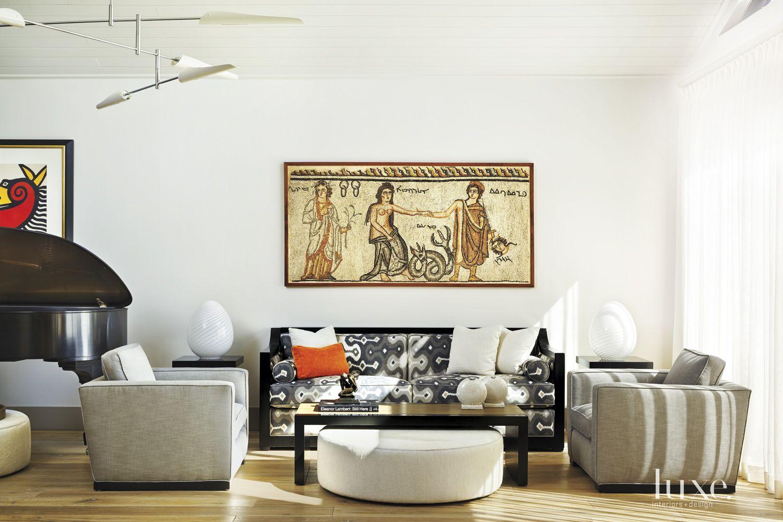 Contemporary Cream Living Room with Custom Graphic Sofa