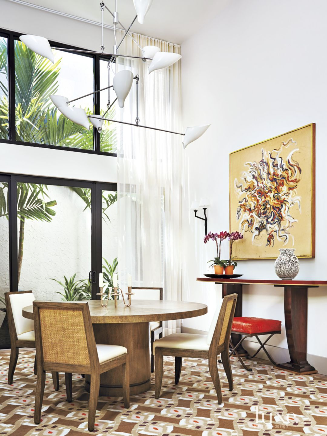 Contemporary White Dining Room with Custom Table