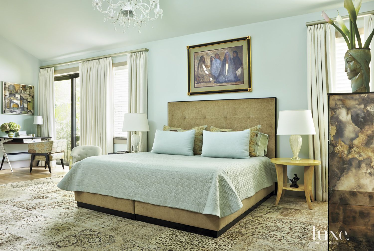 Contemporary Pale Blue Master Suite with Custom Bed